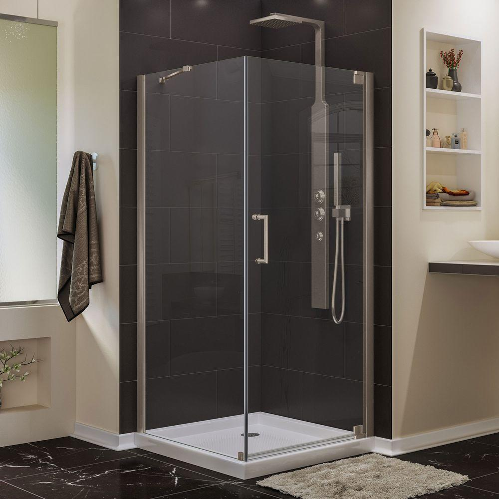 DreamLine Elegance 30 in. D x 30 in. W x 72 in. H Semi-Frameless Pivot Corner Shower Enclosure in Brushed Nickel