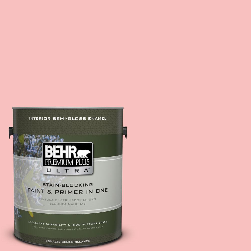 1-gal. #160A-3 Pink Hydrangea Semi-Gloss Enamel Interior Paint