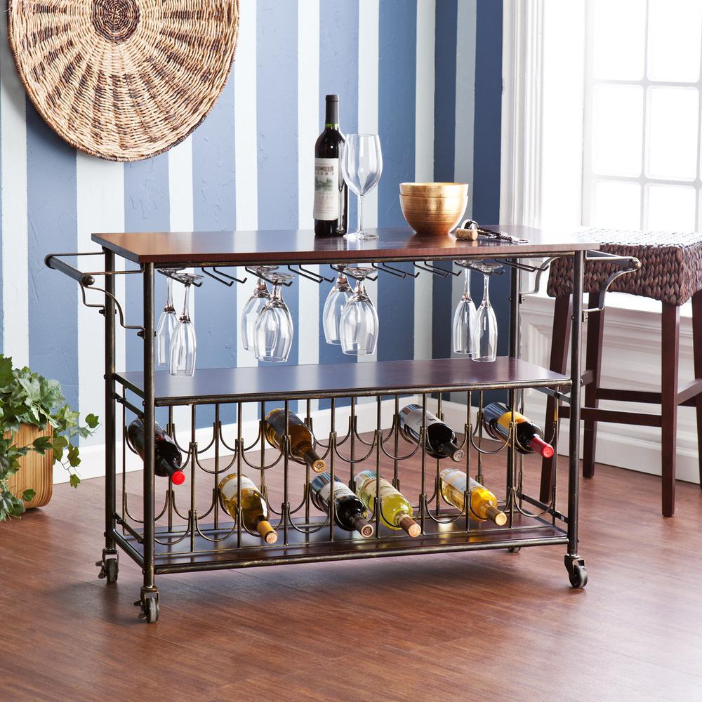 Southern Enterprises Randall Brass Wood Bar Cart with Sto...