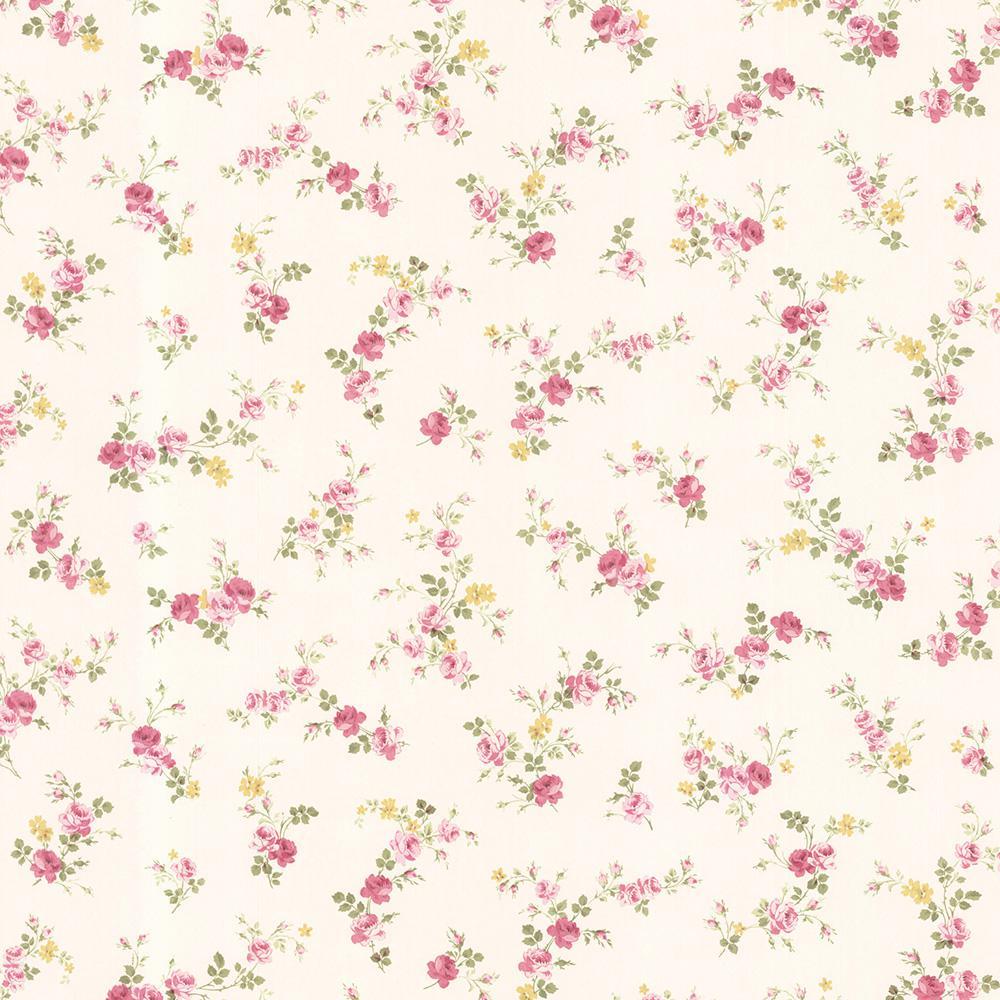 Brewster Turtledove Pink Small Rose Toss Wallpaper Sample 347
