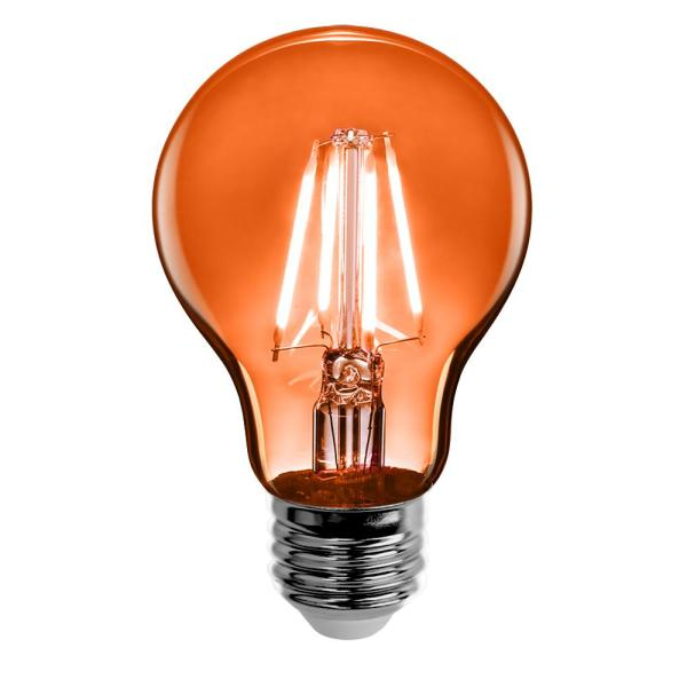 25-Watt Equivalent A19 Medium E26 Base Dimmable Filament Orange Colored LED Clear Glass Light Bulb (1-Bulb)