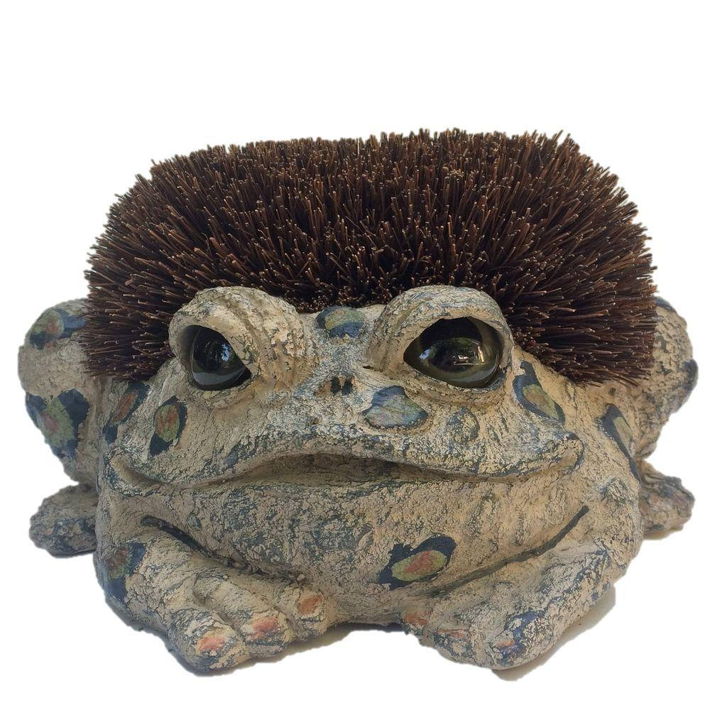 Toad Hollow Toad Boot Brush With Replaceable Brush Garden Frog Statue