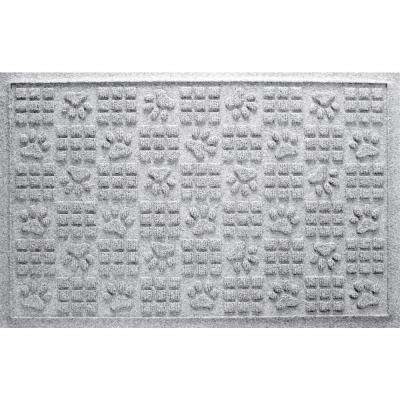 White 24 in. x 36 in. Dog Paw Squares Pet Mat