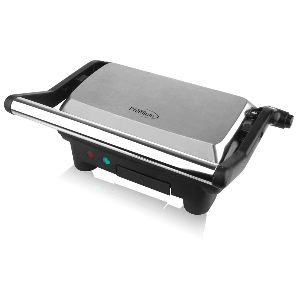 2-Slice Panini Press and Indoor Grill, Black PREMIUM 2-Slice Panini Press and Indoor Grill provides the versatility of both a sandwich maker and an indoor grill surface. With one unit, users can make the perfect sandwich or your favorite grilled foods such as steak, chicken, burgers, fish or grilled vegetables. The Non-Stick Coated Plates and Removable Drip Tray make for easy cleaning. The Adjustable Top Plate can accommodate all sizes from the smallest kids sandwiches to large stacks with all your favorite deli meats or vegetables. Plus, with the Grill open 180° to Lie Flat, users have plenty of cooking surface to make several foods at one. The convenient countertop size fits in any kitchen the perfect way to grill in your Home, Office, Man-Cave or She-Shed. Color: Black.