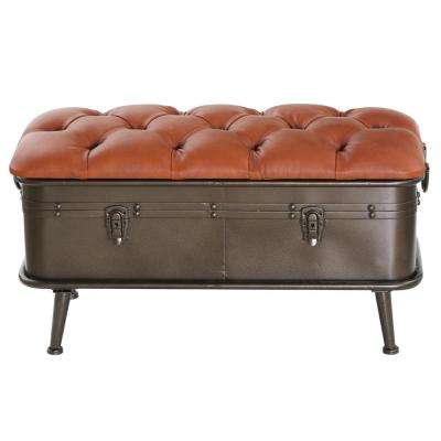 Tan Tufted Faux Leather and Distressed Metal Storage Bench