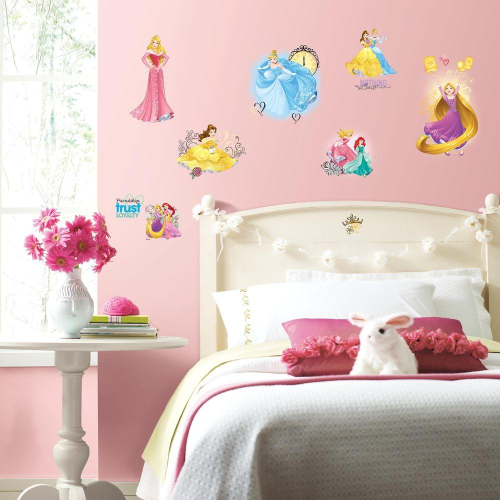 Roommates 5 in x 115 in disney princess friendship adventures disney princess friendship adventures 25 piece peel and stick wall decal rmk3181scs the home depot amipublicfo Gallery