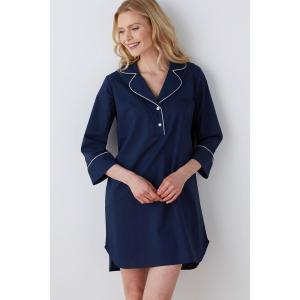 9f0aa921c373 The Company Store Solid Poplin Cotton Women s Extra Small Navy Nightshirt