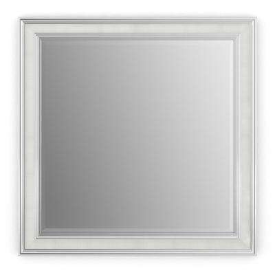 33 in. x 33 in. (L2) Square Framed Mirror with Deluxe Glass and Float Mount Hardware in Chrome and Linen