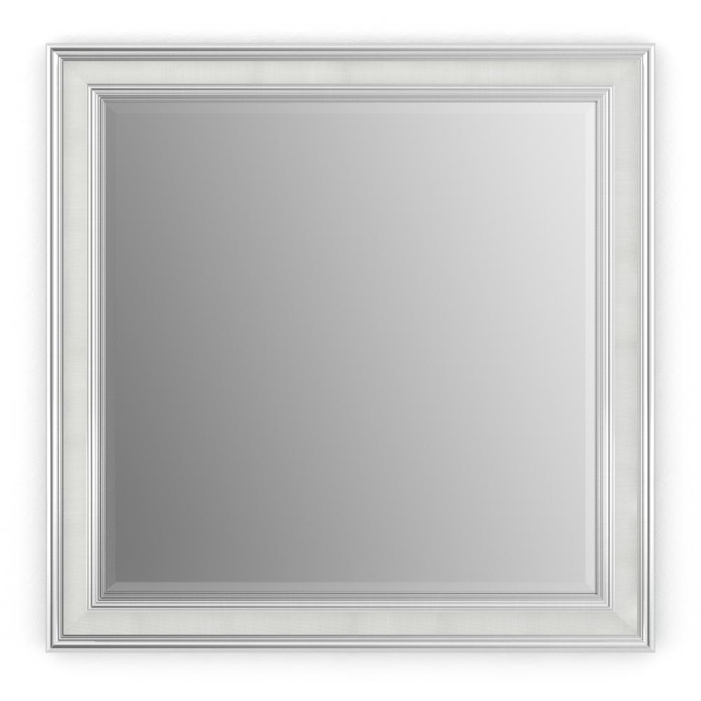 Delta 33 In W X 33 In H L2 Framed Square Deluxe Glass Bathroom Vanity Mirror In Chrome And Linen Fmirl2 Cdt R The Home Depot
