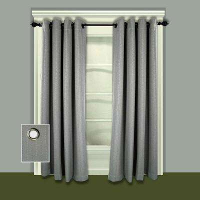 Blackout Grand Pointe Grommet Panel Woven with Blackout Yarns 54 in. W x 84 in. L in Smoke