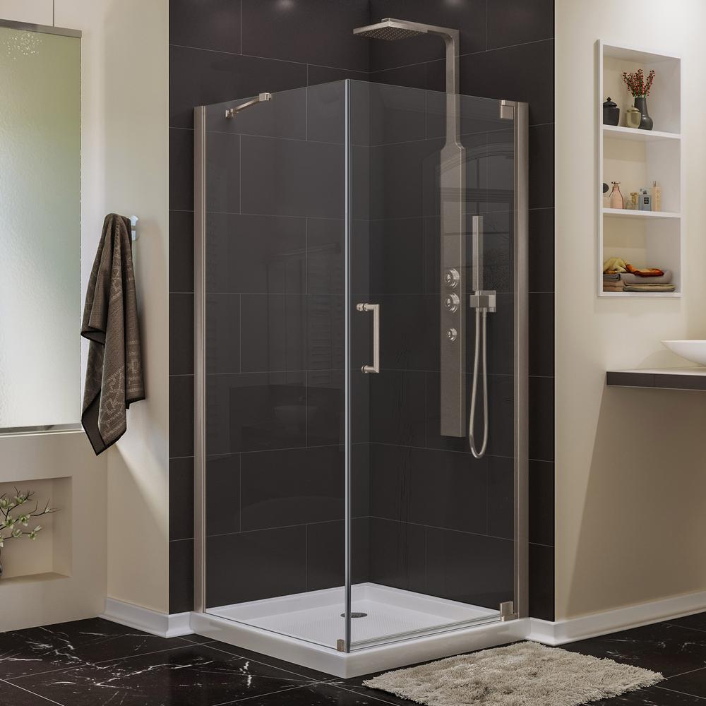 Elegance 34 in. x 34 in. x 72 in. Semi-Frameless Pivot Corner Shower Enclosure in Brushed Nickel