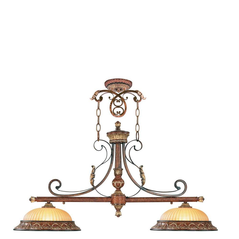 Livex Lighting Providence 2-Light Verona Bronze with Aged Gold Leaf Accents Incandescent Island Ceiling Pendant