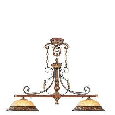 Providence 2-Light Verona Bronze with Aged Gold Leaf Accents Incandescent Island Ceiling Pendant