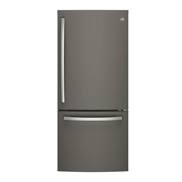 GE 21 cu. ft. Bottom Freezer Refrigerator in Slate, Fingerprint Resistant and ENERGY STAR
