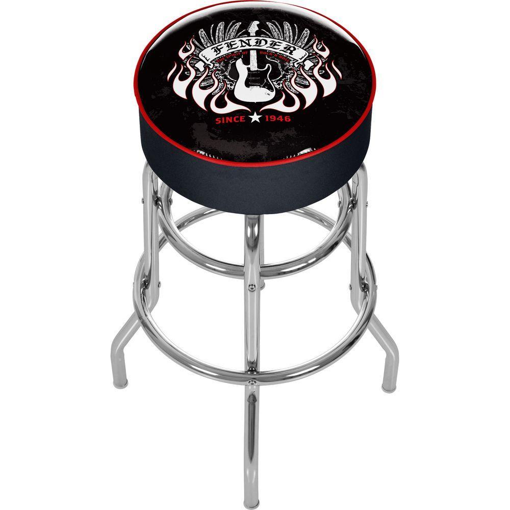 Trademark Black Fender Spirit of Rock and Roll Padded Swivel Bar Stool