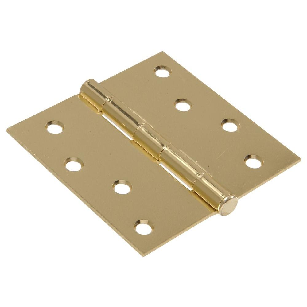4 in. Brass Residential Door Hinge with Square Corner Removable Pin