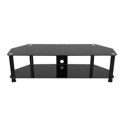 SDC1400CMBB-A TV Stand with Cable Management for up to 65 in. TVs Black Glass, Black Legs