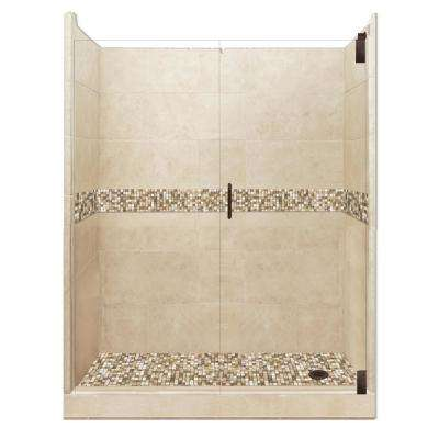 Roma Grand Hinged 32 in. x 60 in. x 80 in. Right Drain Alcove Shower Kit in Brown Sugar and Old Bronze Hardware