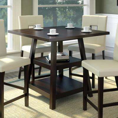 Bistro Cappuccino 36 in. Counter Height Square Dining Table