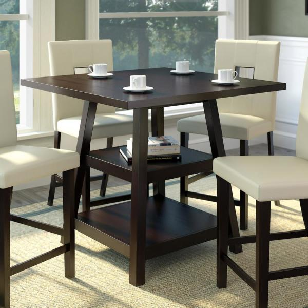 CorLiving Bistro Cappuccino 36 in. Counter Height Square ...