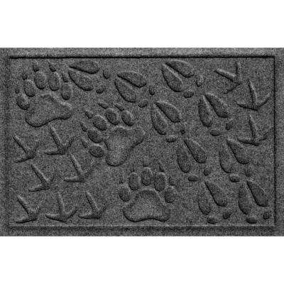 Aqua Shield Animal Tracks Charcoal 17.5 in. x 26.5 in. Pet Mat