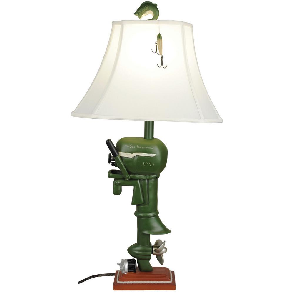 Santa's Workshop 32 in. Boat Motor Table Lamp with Shade