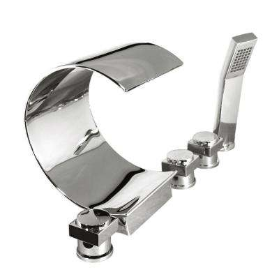 3-Handle Deck-Mount Waterfall Roman Tub Faucet in Polished Chrome