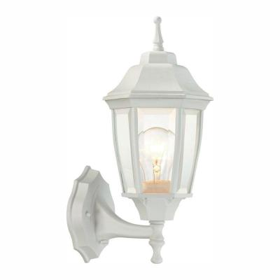 1-Light White Outdoor Dusk-to-Dawn Wall Lantern Sconce