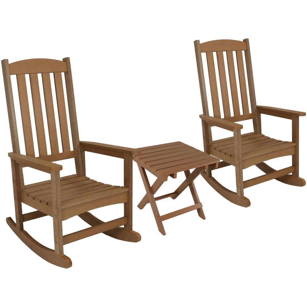 Brown All Weather Traditional Plastic Patio Rocking Chair With Side Table 2 Set