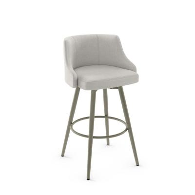 Duncan 26 in. Matt Light Grey Metal Pale Grey Polyester Counter Stool