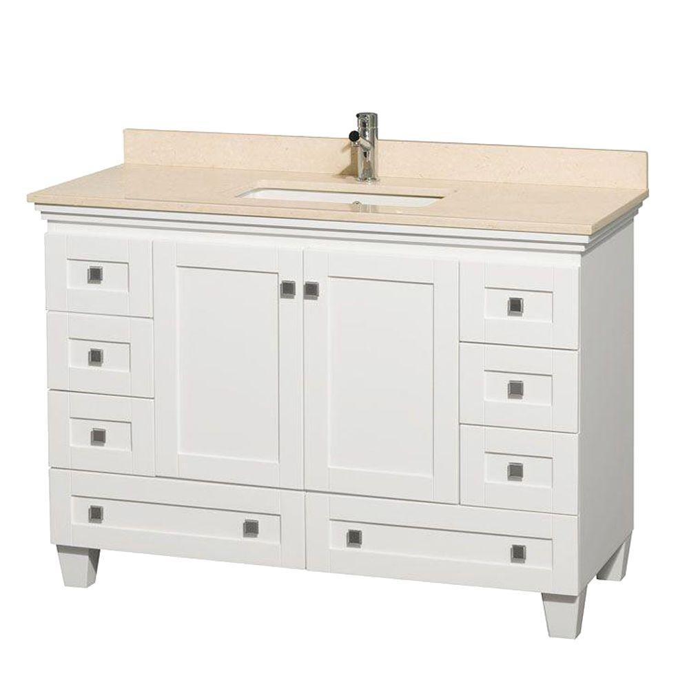 Acclaim 48 in. Vanity in White with Marble Vanity Top in