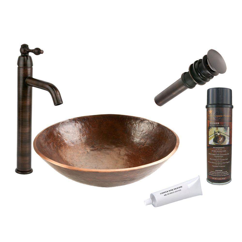 All-in-One Round Hand Forged Old World Copper Vessel Sink in Oil