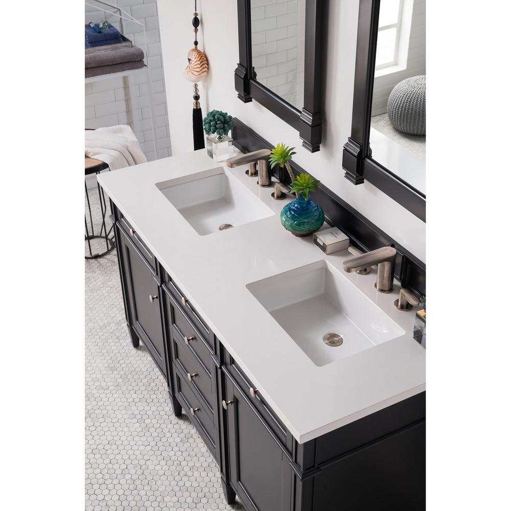 James Martin Vanities Double Bath Vanity Black Quartz Vanity Top Basin