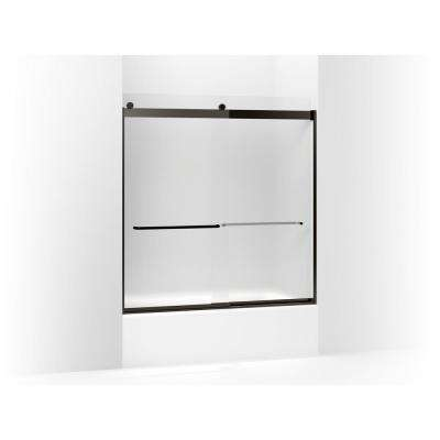 Levity 59.625 in. W x 62 in. H Frameless Sliding Tub Door with Towel Bars in Anodized Dark Bronze