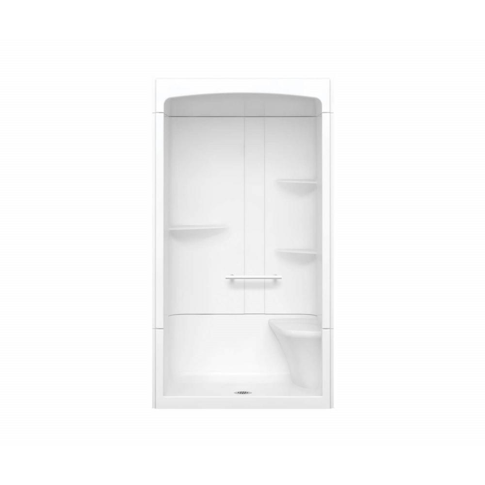 Maax Camelia 48 In X 34 In X 88 In Alcove Shower Stall With Center Drain Base And Right Hand Seat In White 105920 000 001 005 The Home Depot