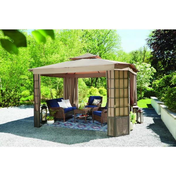 Hampton Bay Verado 10 Ft X 12 Ft Brown Gazebo With Mosquito Netting And Private Curtain L Gz1261pst The Home Depot