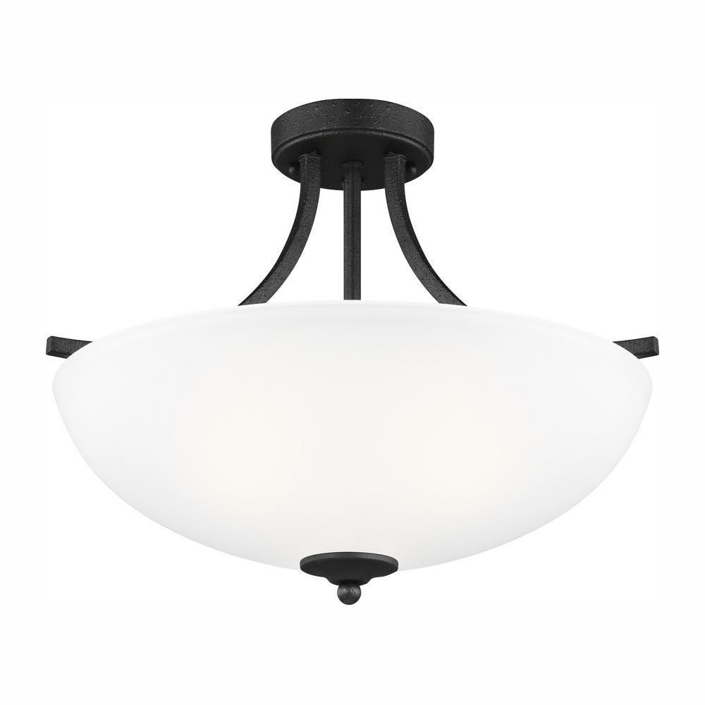 Geary 3-Light Blacksmith Semi-Flush Mount Convertible Pendant with LED Bulbs
