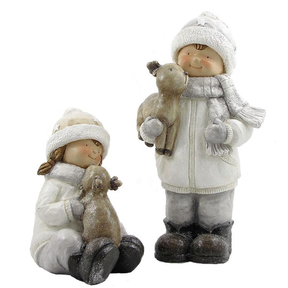 Set of 2 Christmas Figurines with Deer