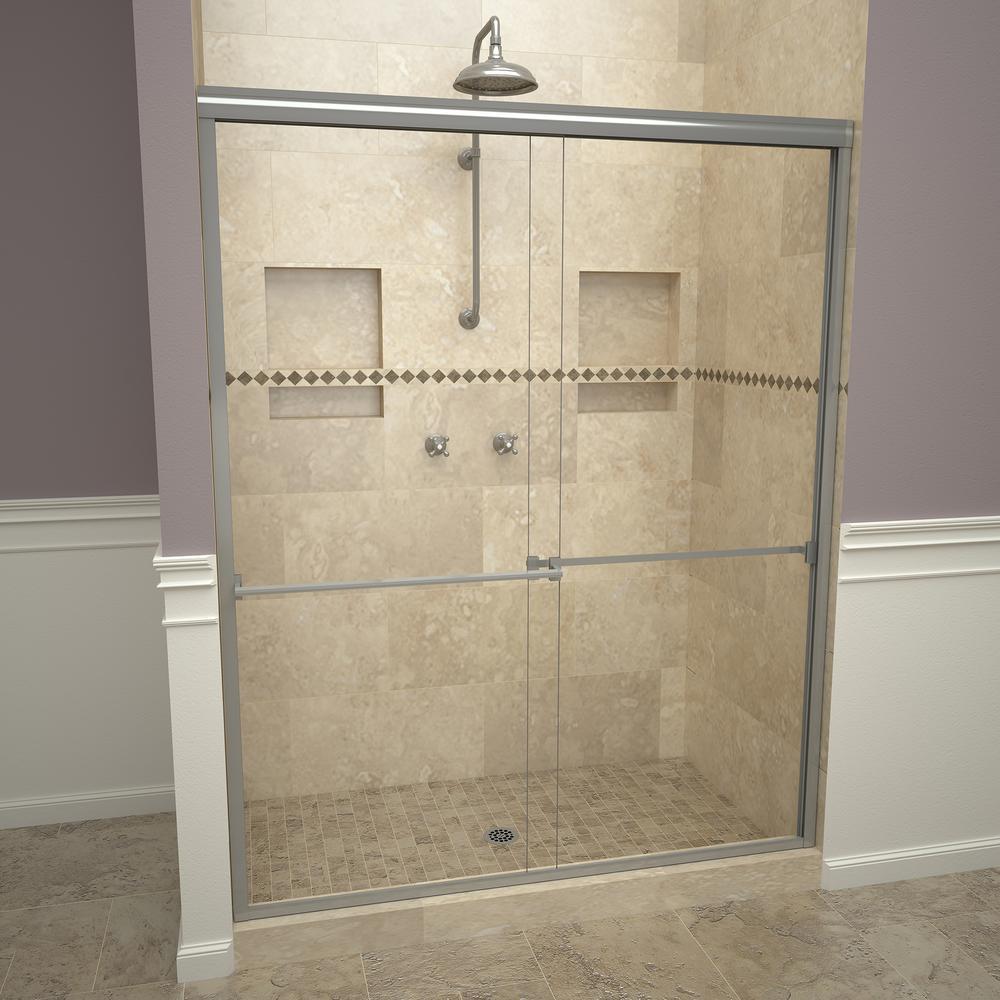Delta 60 In Sliding Shower Door Glass Panels In Clear 1