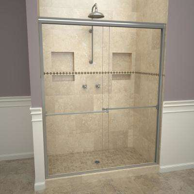 1000 Series 60 in. W x 70 in. H Semi-Frameless Sliding Shower Doors in Brushed Nickel with Towel Bar and Clear Glass