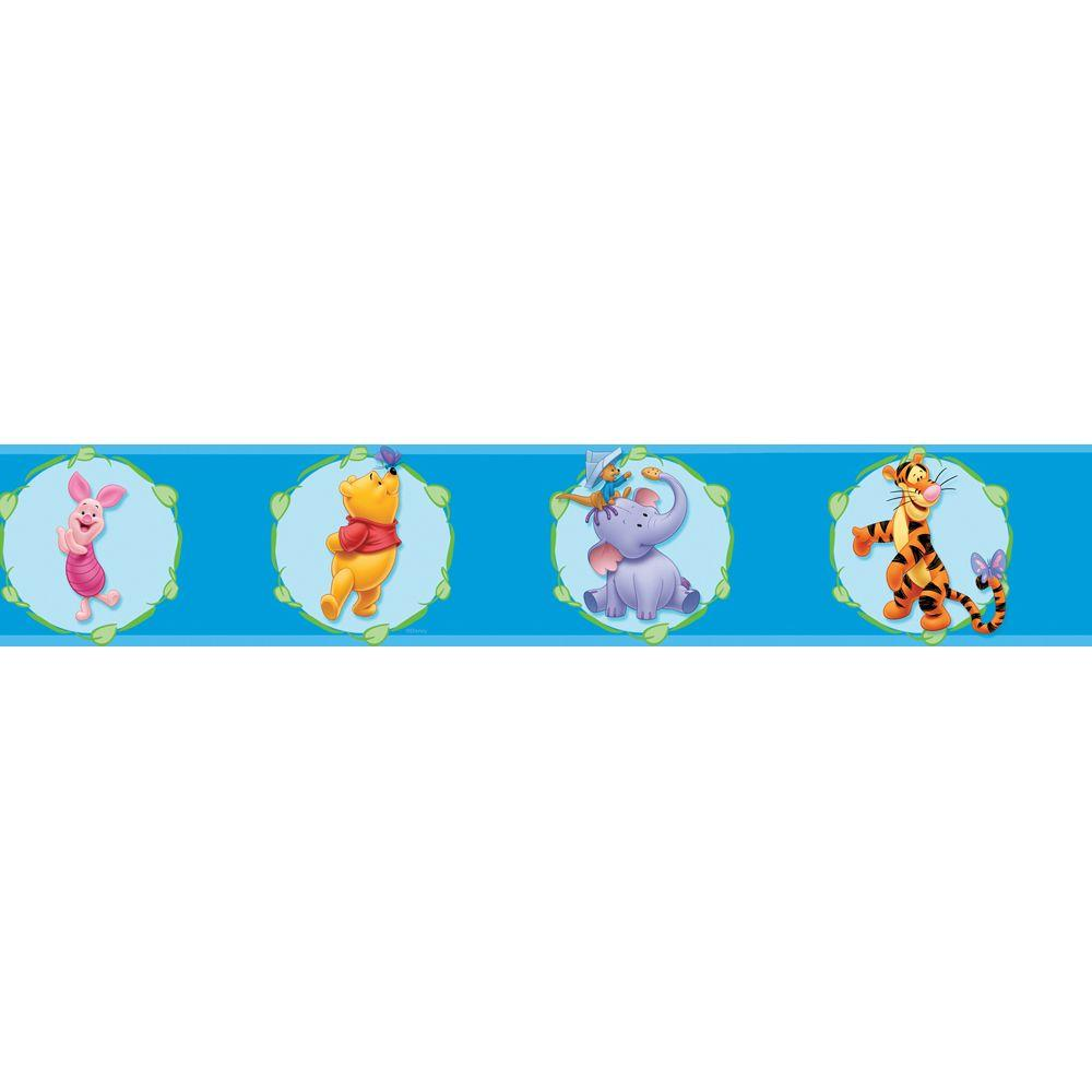 Disney 5 in. x 15 ft. Blue Winnie The Pooh Cameo Border-DISCONTINUED