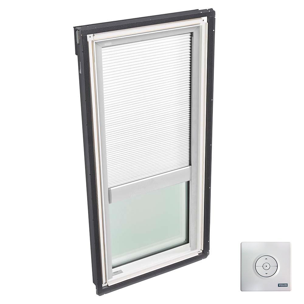 VELUX 21 in. x 45-3/4 in. Fixed Deck-Mount Skylight with Laminated Low-E3 Glass and White Solar Powered Light Filtering Blind