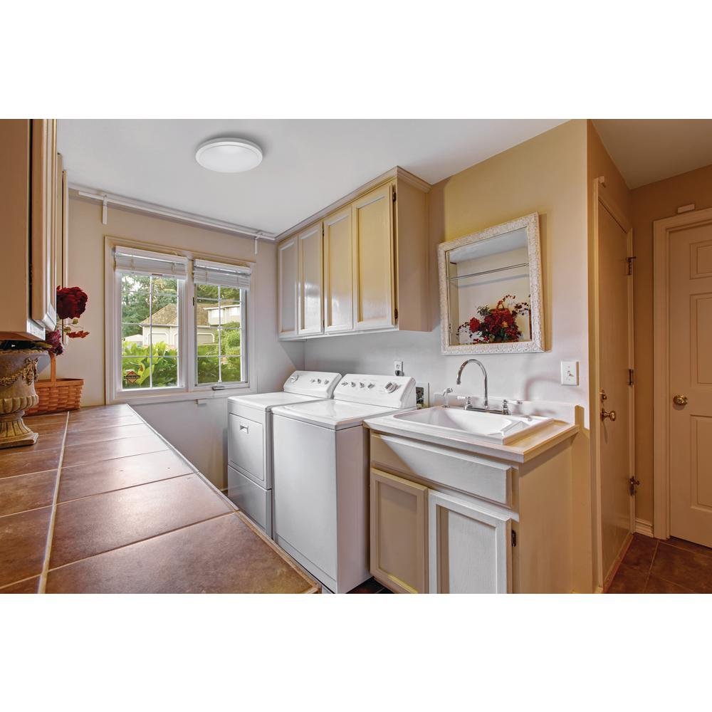 Hampton Bay 16 In White Round Led Flush Mount Ceiling Light Fixture 1640 Lumens 4000k Bright Dimmable