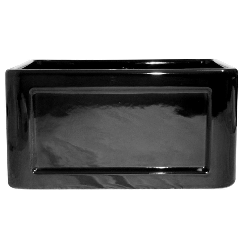 Whitehaus Collection Reversible Concave Farmhouse Apron Front Fireclay 20 in. Single Basin Kitchen Sink in Black
