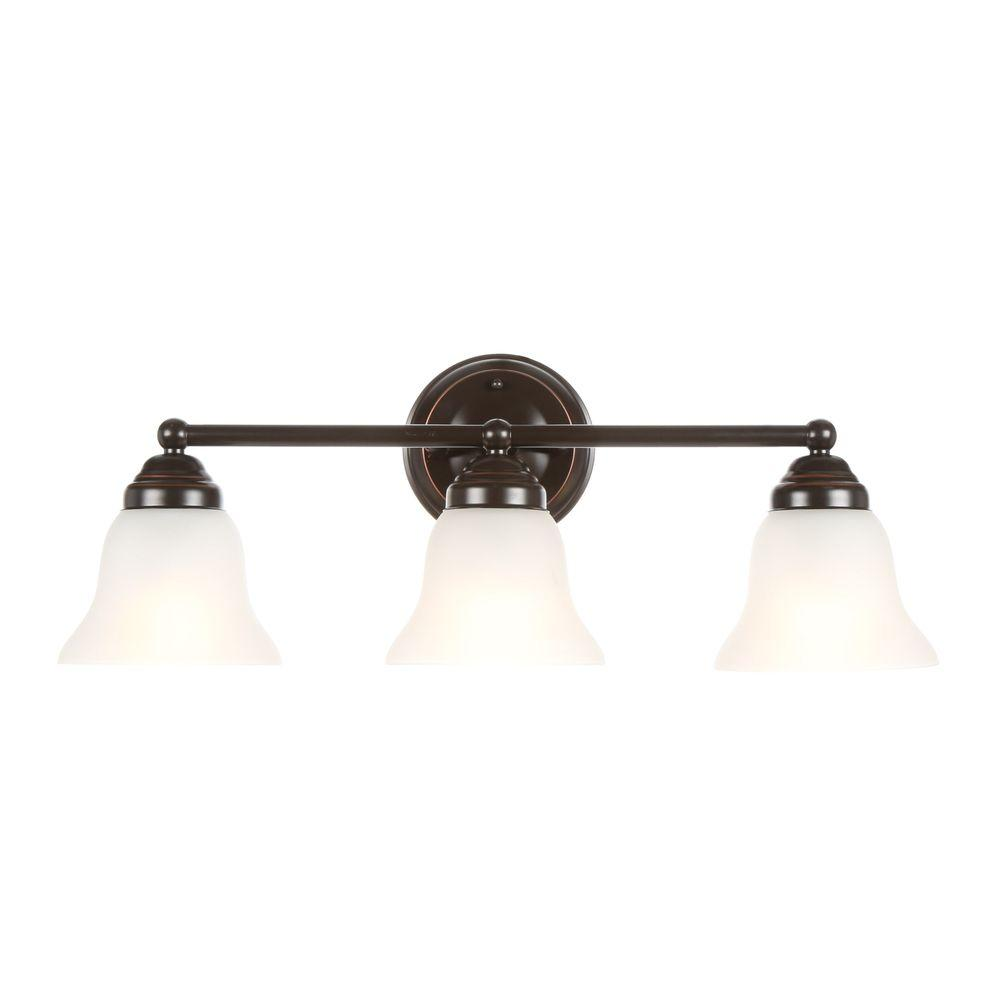 Hampton Bay 3-Light Oil Rubbed Bronze Vanity Light with Frosted ...