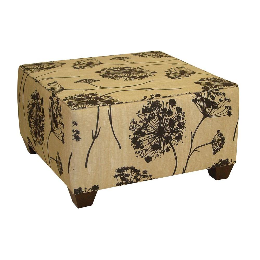 Home Decorators Collection Georgetown Lace Square Cocktail Ottoman in Black and Beige