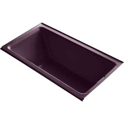 Tea-for-Two 66 in. Right-Hand Drain Rectangular Alcove Bathtub in Black Plum