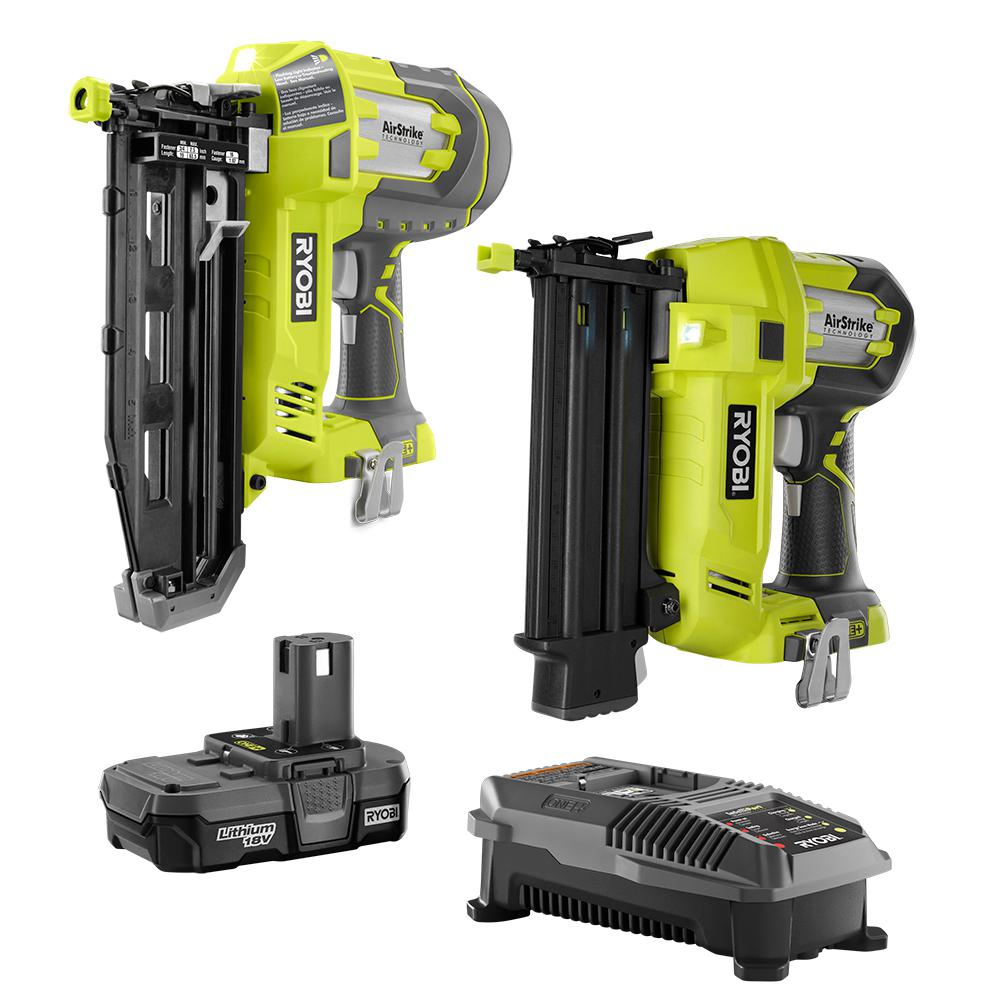 RYOBI 18-Volt ONE+ Lithium-Ion Cordless AirStrike 18-Gauge Brad Nailer and 16-Gauge Straight Nailer 2-Tool Combo Kit