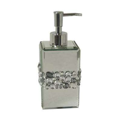 Harlow Lotion Dispenser, Silver Mirror with Beads, Chrome Pump