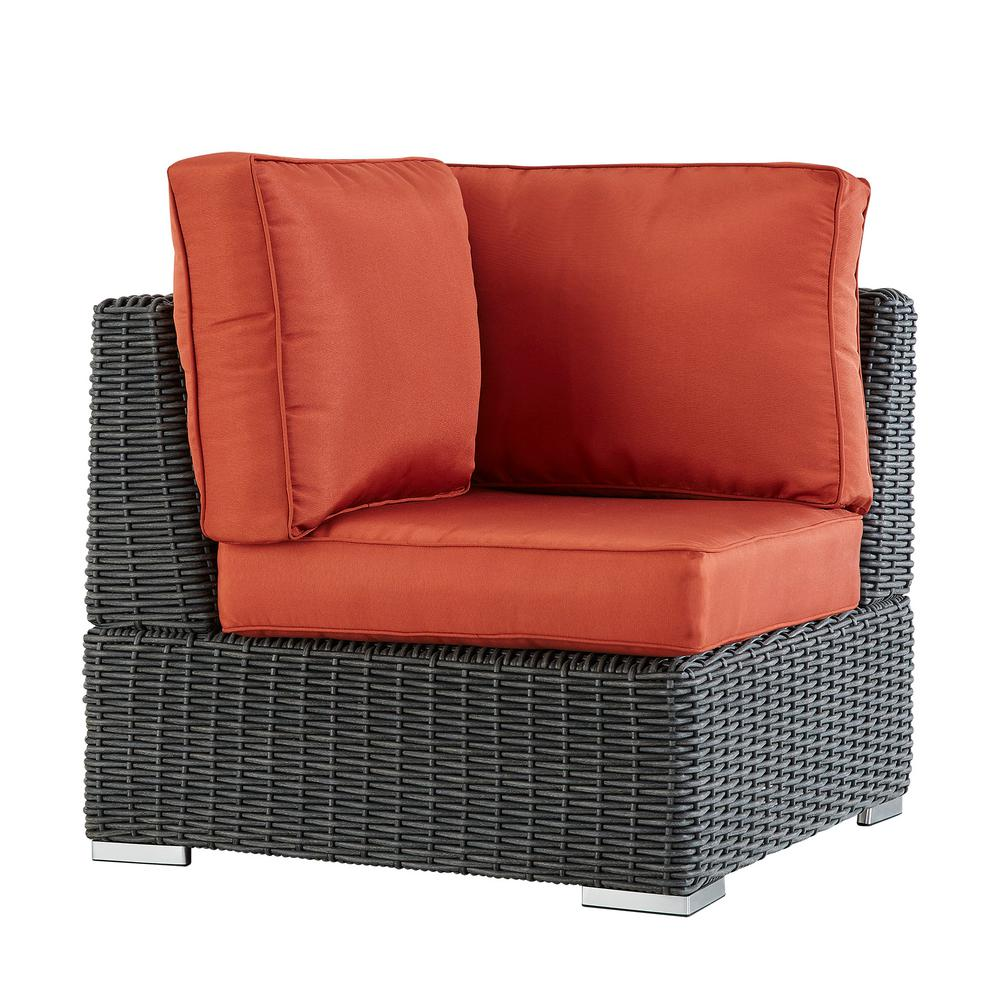 Camari Charcoal Wicker Corner Outdoor Sectional Chair With Red Cushion